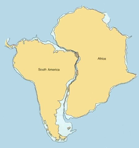Popscicoll plate tectonics the fit of the continents the fit of south america and africa including the continental shelf at a depth of gumiabroncs Gallery